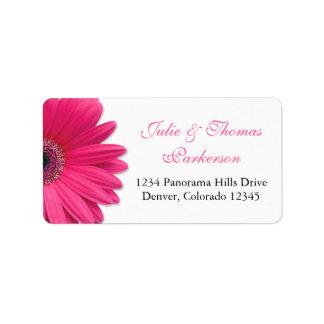 Wedding Address Labels   Pink Gerbera Daisy Black