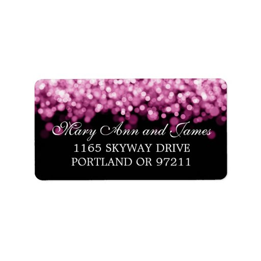 Wedding Address Pink Lights Personalized Address Label