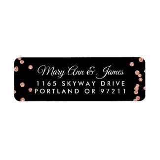 Wedding Address Rose Gold Glitter Confetti Black