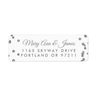Wedding Address Silver Faux Glitter Confetti White