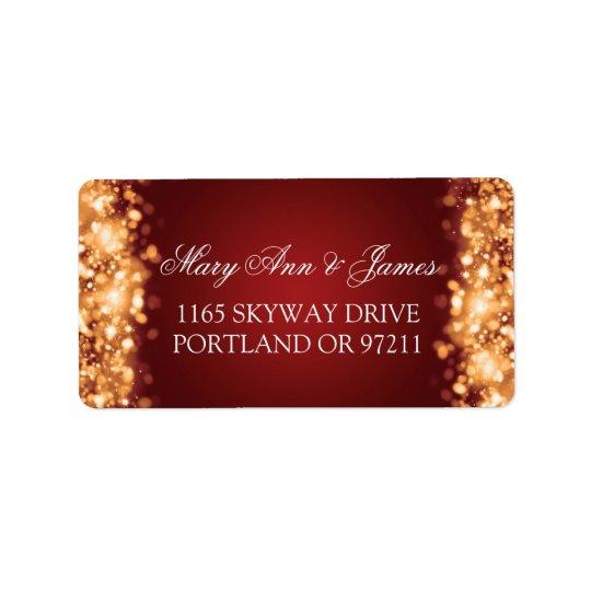 Wedding Address Sparkling Lights Gold Label
