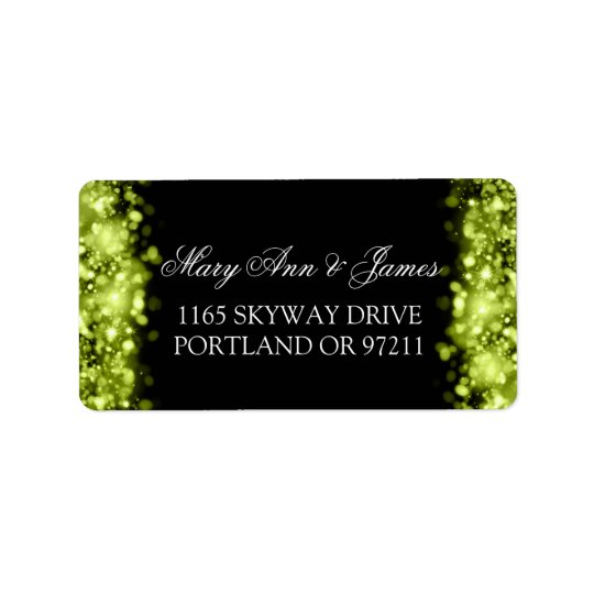 Wedding Address Sparkling Lights Lime Black Label