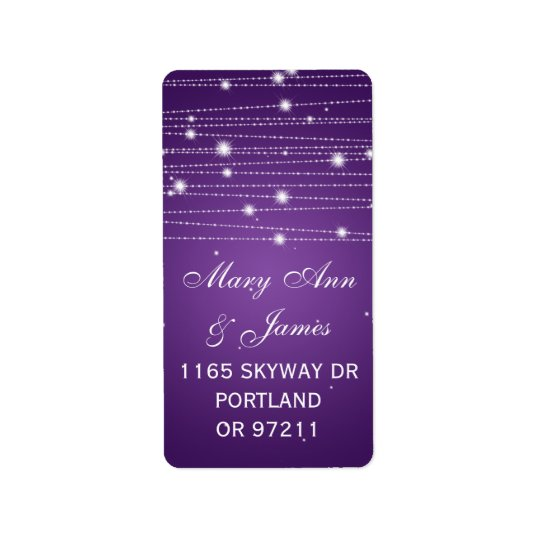 Wedding Address Sparkling Lines Purple