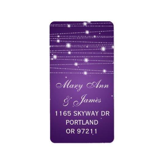 Wedding Address Sparkling Lines Purple Label