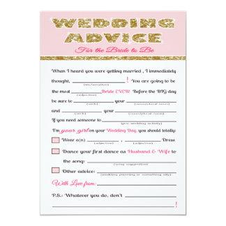 "Wedding Advice Bridal shower game 5"" X 7"" Invitation Card"