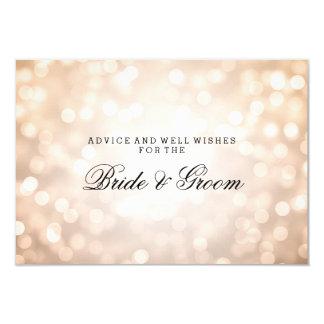 "Wedding Advice Card Copper Glitter Lights 3.5"" X 5"" Invitation Card"