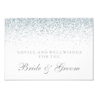 Wedding Advice Card Elegant Silver Confetti