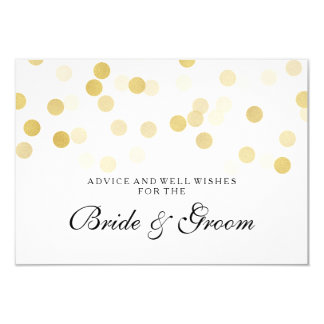 "Wedding Advice Card Faux Gold Foil Glitter Lights 3.5"" X 5"" Invitation Card"