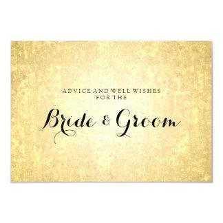"Wedding Advice Card Gold Foil Stars Look Confetti 3.5"" X 5"" Invitation Card"