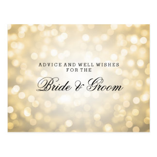 Wedding Advice Card Gold Glitter Lights Postcard