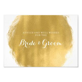 """Wedding Advice Card Gold Paint Look 3.5"""" X 5"""" Invitation Card"""