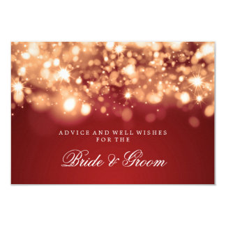 "Wedding Advice Card Gold Sparkling Lights 3.5"" X 5"" Invitation Card"