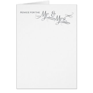 Wedding advice card in silver font