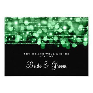 "Wedding Advice Card Party Sparkles Green 3.5"" X 5"" Invitation Card"