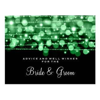 Wedding Advice Card Party Sparkles Green Postcard
