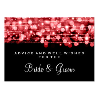 Wedding Advice Card Party Sparkles Red Business Card
