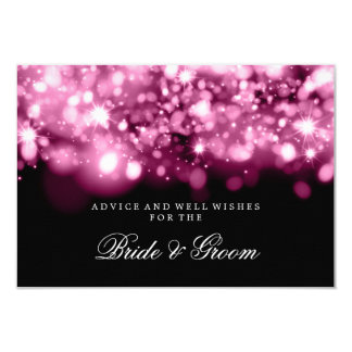 "Wedding Advice Card Pink Sparkling Lights 3.5"" X 5"" Invitation Card"