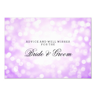 "Wedding Advice Card Purple Glitter Lights 3.5"" X 5"" Invitation Card"