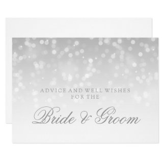 Wedding Advice Card Silver Bokeh Sparkle Lights