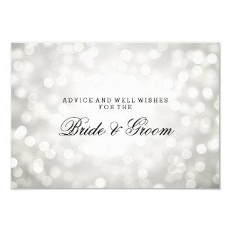"Wedding Advice Card Silver Glitter Lights 3.5"" X 5"" Invitation Card"