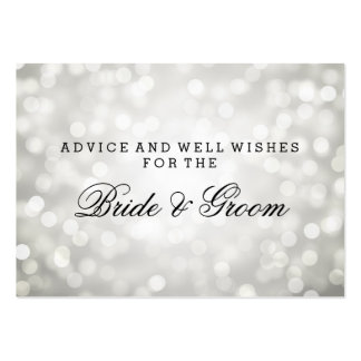 Wedding Advice Card Silver Glitter Lights Large Business Card