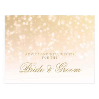 Wedding Advice Gold Bokeh Sparkle Lights Postcard