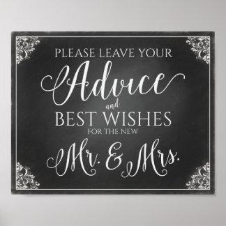 Wedding Advice Sign-Chalkboard Vintage Poster