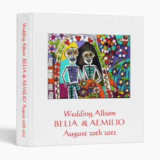 Wedding Album - Day of the Dead : Mexican Couple 3 Ring Binders