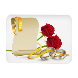 Wedding and engagement scroll with red roses,rings rectangular photo magnet