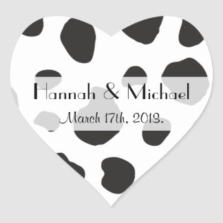 Wedding - Animal Print, Cow Spots - White Black Heart Sticker