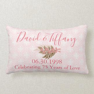 Wedding Anniversary 75 Year Pink Lumbar Pillow