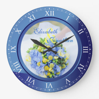 Wedding Anniversary Blue Sapphire Roman Numerals Wallclocks