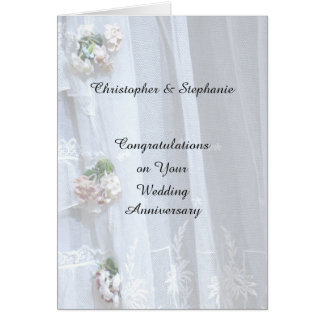 Wedding Anniversary Card, Vintage Lace Card