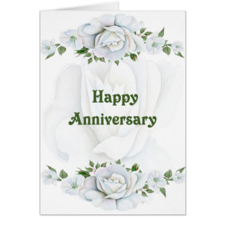 Wedding Anniversary Card with Pretty White Roses