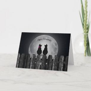 wedding anniversary cats in moonlight card