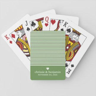 Wedding Anniversary Custom Bride Groom Date Stripe Playing Cards