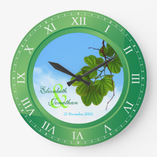 Wedding Anniversary Emerald Green Roman Numerals Clock