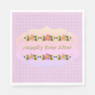 Wedding_Anniversary_Floral_Fairy-tale_Pink-Gingham Disposable Napkin