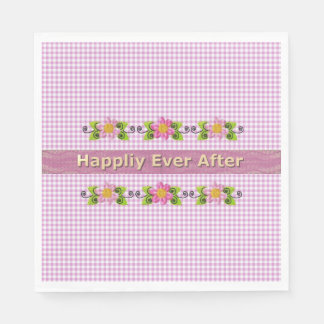 Wedding_Anniversary_Floral Gold_Fairy-tale_Gingham Paper Napkin
