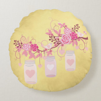 Wedding Anniversary Gift Gold and Pink Round Pillow