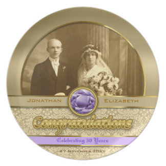 Wedding Anniversary Gold Amethyst Gemstone Damask Party Plate