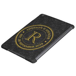 Wedding Anniversary Gold Monogram Black Leather iPad Air Covers
