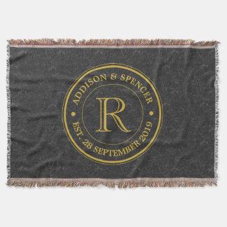 Wedding Anniversary Gold Monogram Black Leather Throw Blanket