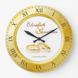 Wedding Anniversary Gold Roman Numerals Custom Wallclock