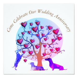 Wedding Anniversary Invitation, Red Hearts tree Card