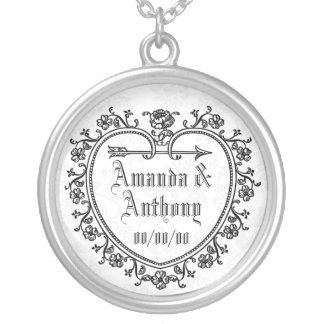 wedding anniversary,just married,newly webs round pendant necklace