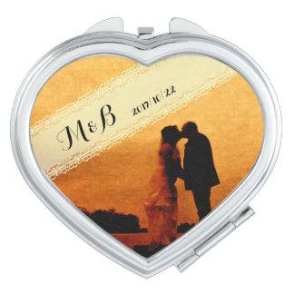 Wedding anniversary keepsake travel mirrors