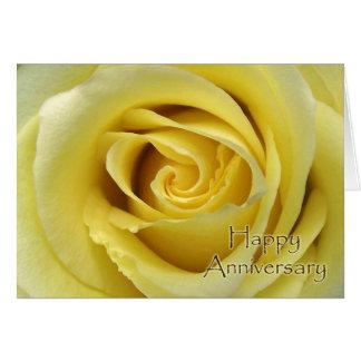 Wedding Anniversary, Macro Yellow Rose Photograph Card