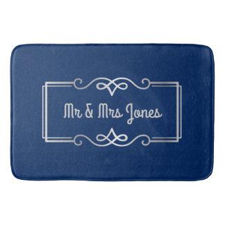 Wedding Anniversary Monogram Silver Navy Blue Bath Mat