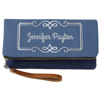 Wedding Anniversary Monogram Silver Navy Blue Clutch
